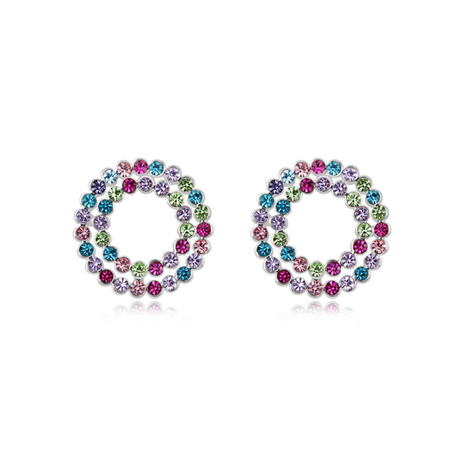 Austrian Crystal Circle Stud Earrings White Gold Plated Small Cheap Jewelry ( 2 Colors ) Fashion Women Earring Bijoux EEH0029