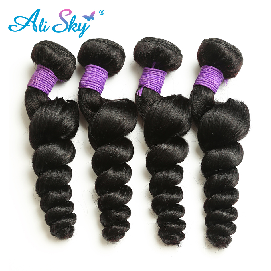Ali Sky Peruvian Loose Wave Virgin font b Hair b font Thick and Full 100 font
