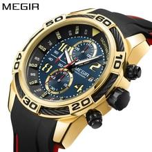 MEGIR Бренд Мужские часы Хронограф Тахометр Военная армия Спорт Кварцевые часы Силиконовые золотые Черные наручные часы Мужские водонепроницаемые