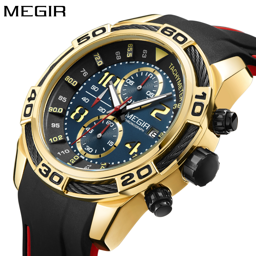 MEGIR Brand Mens Watch Chronograph Tachymeter Military Army Sports Quartz-watch Silicone Gold Black Wrist Watch Men Waterproof