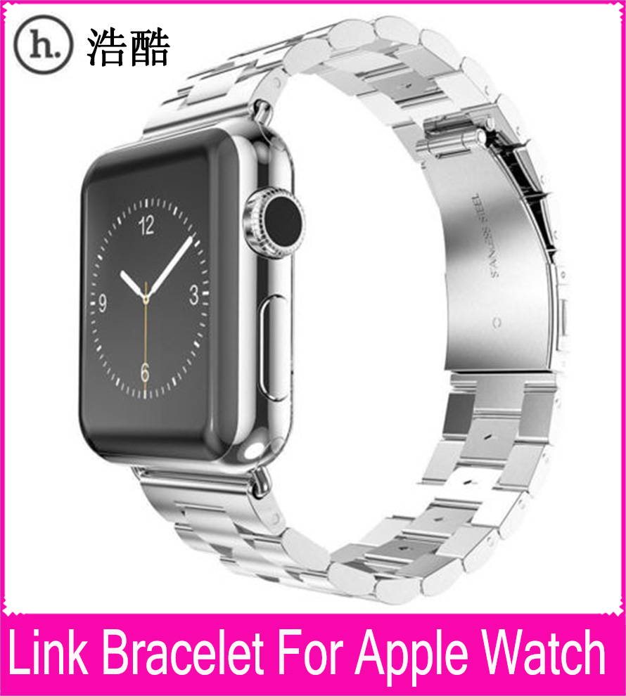 все цены на Hot Sale 3 Pointers Silver Metal Watchband For Apple Watch Link Bracelet 42mm 38mm With 316L Stainless Steel Original Adapters онлайн