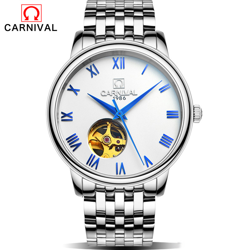 Carnival New Number Sport Design Bezel Golden Watch Mens Watches Top Brand Luxury Montre Homme Clock Men Automatic Skeleton Watc forsining 3d skeleton twisting design golden movement inside transparent case mens watches top brand luxury automatic watches