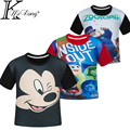 Tamanho 4-12 anos menino & menina zootopia camiseta mickey crianças roupas de dentro para fora roupas crianças vetement garcon roupas infantis menino