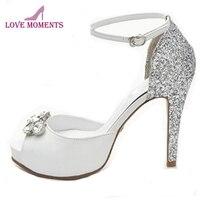 White Sheepskin Cinderella Rhinestone Shoes Peep Toe Glitter Bride Banquet Pumps Lady Fashion Spring Summer Dress Shoes