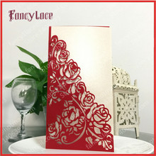 50PCS Free Shipping Hot Sale Laser Cut Paper Rose Flowers Lace Birthday Wedding Invitation Cards with Blank inner paper Sheet