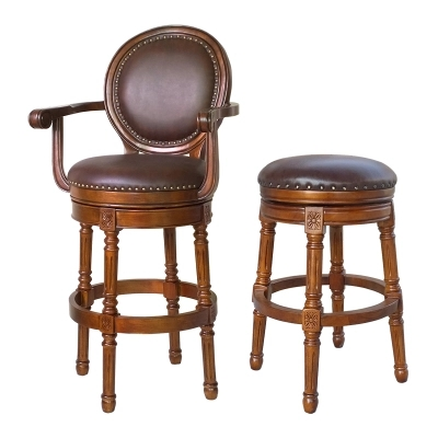 European  American Style Solid Wood High Bar Stool Leather Bar Chair Backrest High Chair