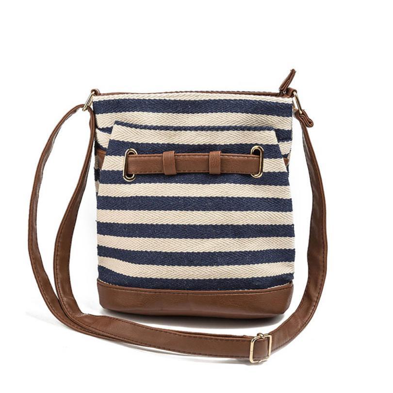 Женская мода полосатый холст сумка через плечо сумка женская сплошной цвет молнии сумка-мешок Сумочка # F