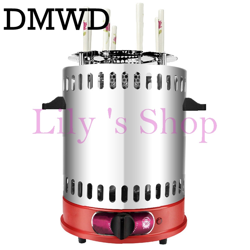 DMWD Electric grill oven barbeque machine skewer kebab BBQ Smokeless indoor outdoor automatic rotating Heating Stove timer EU US