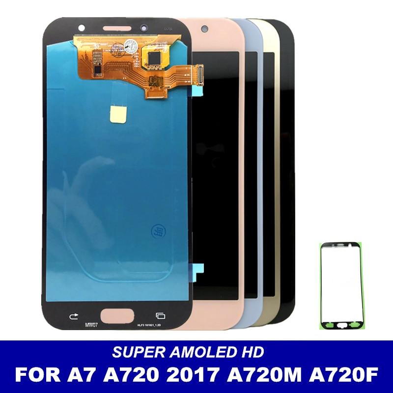 Протестированный супер AMOLED LCD сменный для Samsung Galaxy A7 2017 A720 A720F A720M A720Y дисплей кодирующий преобразователь сенсорного экрана в сборе|Экраны для мобильных телефонов|   | АлиЭкспресс