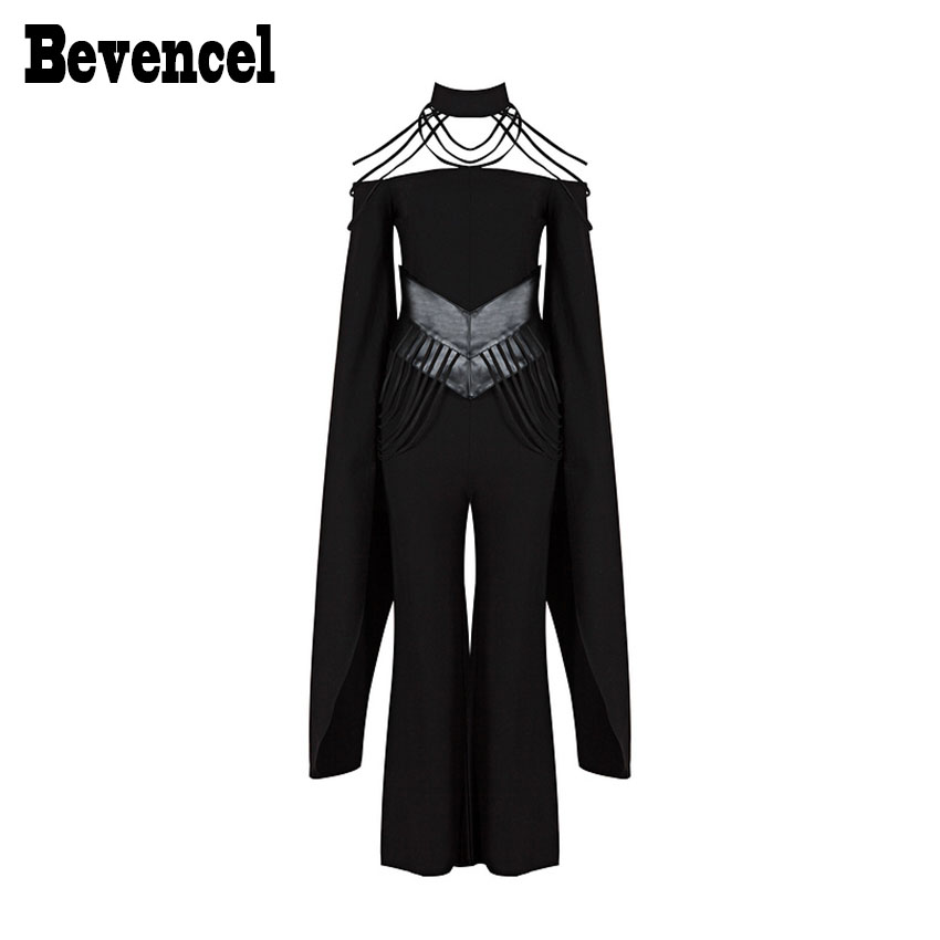 Bevenccel 2018 New Women Fashion Jumpsuits Halter Bat sleeves Full Length PU Sashes Loose Black Celebrity Runway Jumpsuits