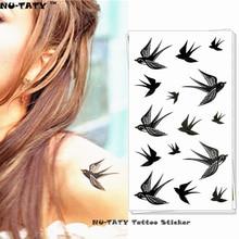 Nu-TATY Black Swallow Temporary Tattoo Body Art Flash Tattoo Stickers 17x10cm Waterproof Fake Tatoo Car Styling Wall Sticker