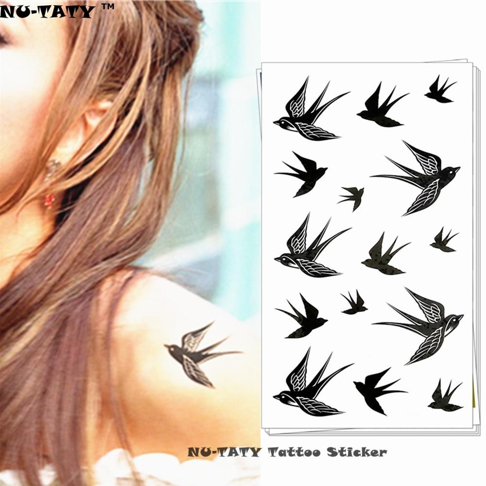 ᐊnu Taty Hirondelle Noire Tatouage Temporaire Corps Art Flash