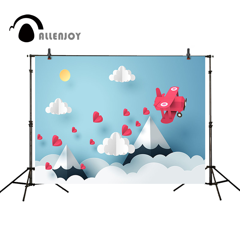 Allenjoy photography backdrops Children background airplane mountain love hearts cute paper folding camera photographic vinyl