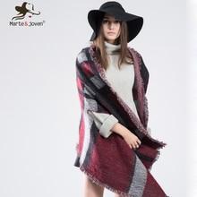 Marte Joven Za Tartan Color Matching Stole Pashmina for Women Winter Thicken Warm Cashmere Poncho
