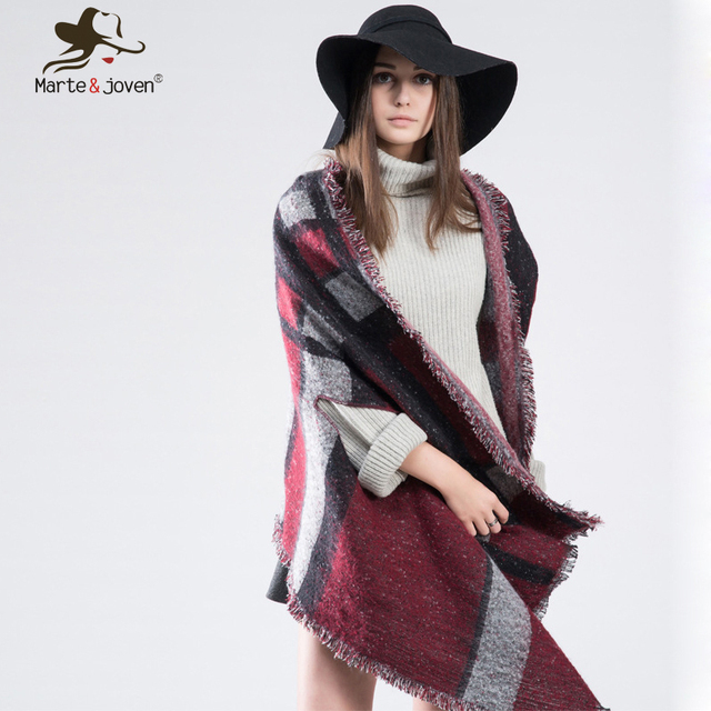 [Marte&Joven] Za Tartan Color Matching Stole Pashmina for Women Winter Thicken Warm Cashmere Poncho Checked Scarf and Shawl Coat