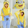 2016 Anime Cosplay Despicable Me 2 Minions Flannel Sleepwear Adult Onesie Pajamas Carnival Halloween Costume for Man and Women
