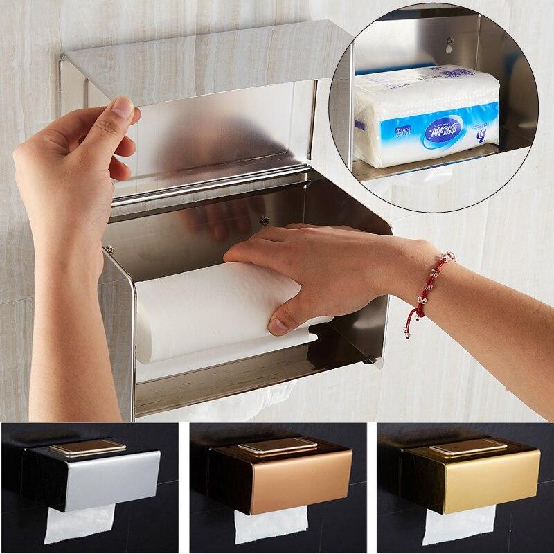 где купить Stainless Steel Wall Adhesive Paper Holders Rack Toilet Paper Holders Rack Holder Bathroom Towel Holder Paper Tissue Dispenser дешево