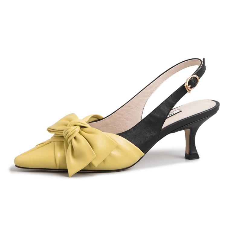 FEDONAS Donne di Modo Pompe Night Club Scarpe Nuovo di Alta Qualità Del Cuoio Genuino Farfalla Nodo Scarpe Da Donna Primavera Estate Scarpe Da donna-in Pumps da donna da Scarpe su  Gruppo 3