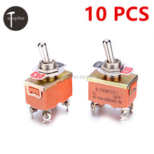 10 PCS KN1221 250V 15A Toggle Switch Good Quality 4 Pins Touch On Off Switches Mini Small Orange Color Kit