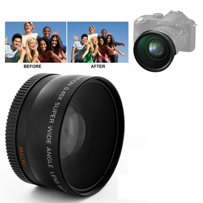 0 45X 58mm Wide Angle Lens with Macro for Canon 700D 350D 400D 450D 500D 1000D 550D 600D 1100D suitable for 18 55mm lens in Camera Lens from Consumer Electronics