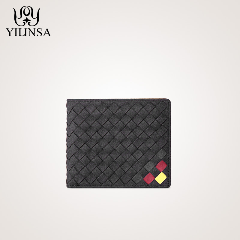 Men Wallets Handmade Woven Purse 100% Suede Leather Casual Soild Men Wallet With Coin Pocket Purses High Quality Male Purses