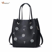 NUCELLE Brand New Design Dandelion Women S Fashion Casual PU Leather Girls Lady Bucket Bag Handbag