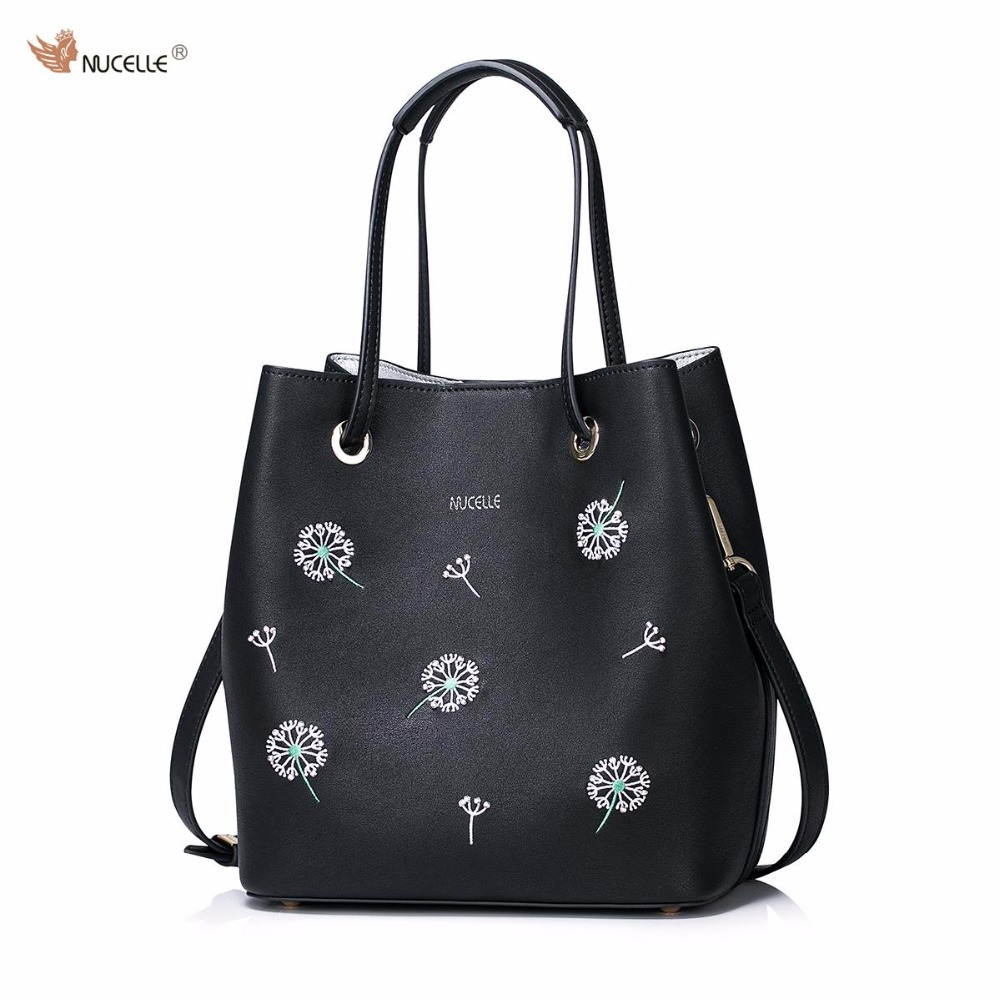 NUCELLE Brand New Design Dandelion Women's Fashion Casual PU Leather Girls Lady Bucket Bag Handbag Shoulder Bags