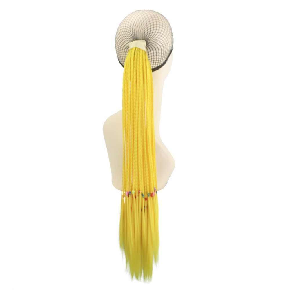 Joy & beauty peruca cabelo sintético, peças de cabelo multicolorido com 29 cores 24 polegadas, rosa, azul, verde, rabo de cavalo