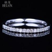 Helon сверкали свадьбы алмазы группа Твердые 14 К белого золота проложить природный бриллиантами Обручальное годовщина женские изысканные ко