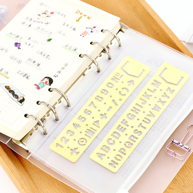 US $1 26 10% OFF|Vintage Portable Stainless Steel metal Good Letter  Stencils Hollow Rulers Planner Diary Notebook DIY Tool Template  Stationery-in