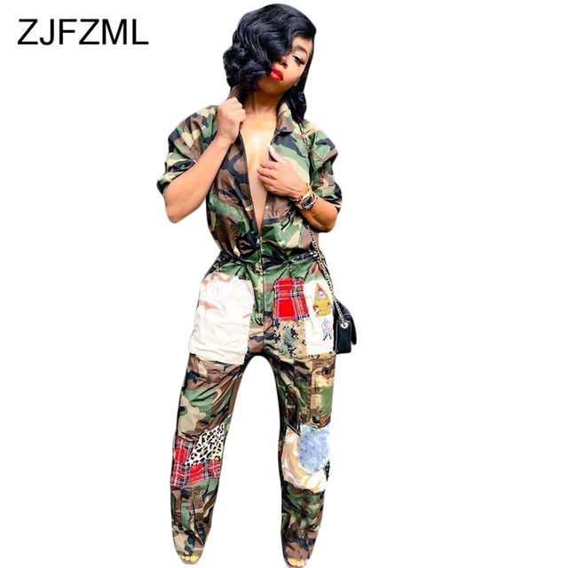 e41c52a6aa8f2 Plus Size Casual Rompers Womens Jumpsuits Women Long Sleeve Camouflage  Print Loose Overall Punk Zipper Turn Down Collar Bodysuit