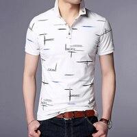 Новинка 2019, модная брендовая летняя рубашка поло, мужская рубашка с принтом, приталенная рубашка с коротким рукавом, мерсеризованные хлопко...
