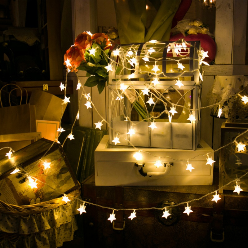 Home Warm White LED Fairy Lights Metal Star String ...
