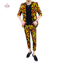 2019 African Design Clothing Bazin Riche Men 2 Pieces Pants Sets African Clothes Casual Men Jacket Coat and Pants Sets WYN790