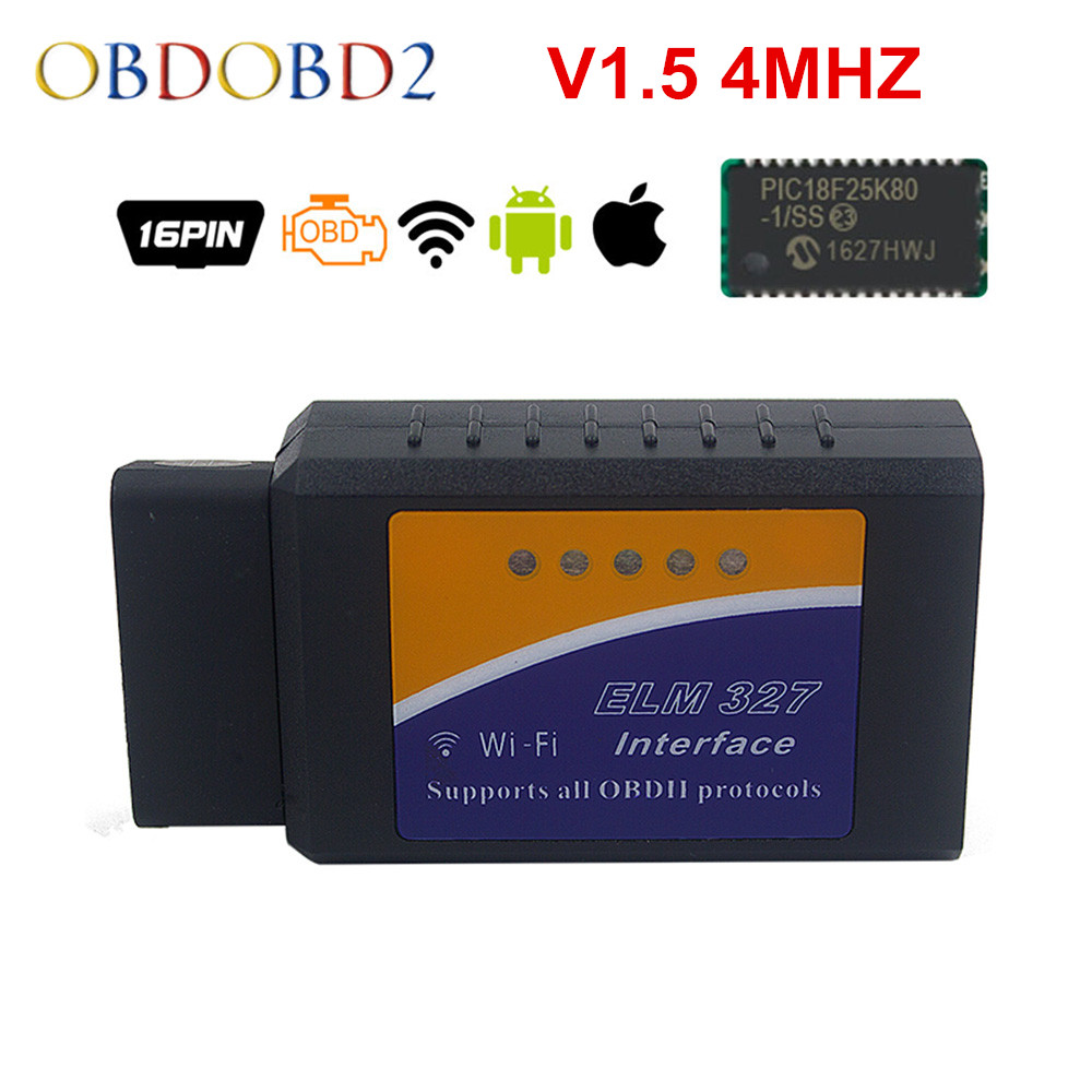 100% Real 25K80 ELM327 WIFI V1.5 4MHZ ELM 327 For Android Torque/PC Support All OBD2 Protocol 12 Languages 12V Diesel Free Ship