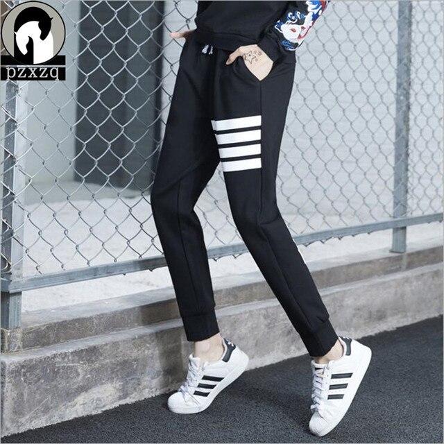 Brand Design Plus Size Sporting Trousers For Women 2019 Spring Harem Elastic Waist Pants Female Hip Hop Letter Printed Capri