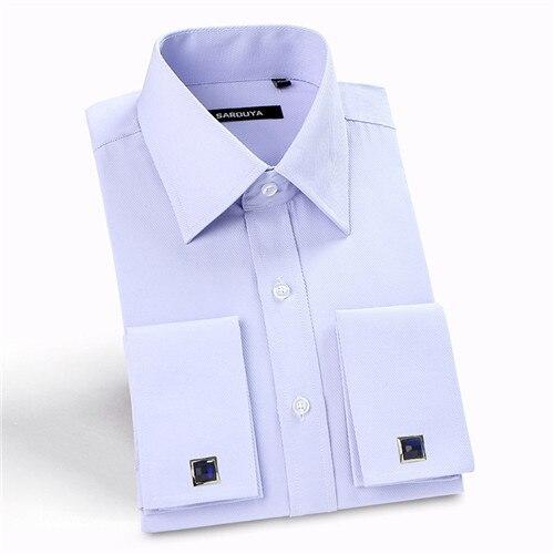 Последним Франция манжеты кнопка мужчины платье рубашки твердые отложным воротником с длинным рукавом банкетный мужчины рубашки саржа/полосатый мужской 4xl