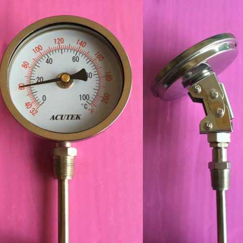 Stainless Steel bi-metallic Thermometer -50-50~500 degrees L=100, 1/2BSP WSS-581W