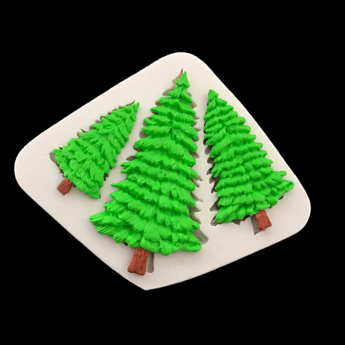 Fashion 3D Cookings for Cake Silicone 3 Holes Christmas Tree Shape Fondant Bread Biscuit Chocolate Mold Stencil