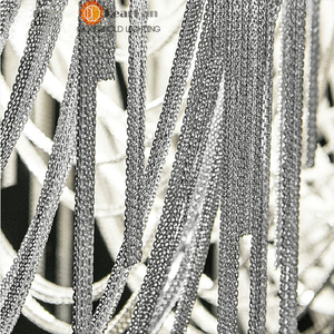 Image 4 - Modern Style Silver Cloth Art Pendant Lamp Engineering Design Luxury Chain Tassel Aluminum Chain LED Pendant Lights(CQ 50)