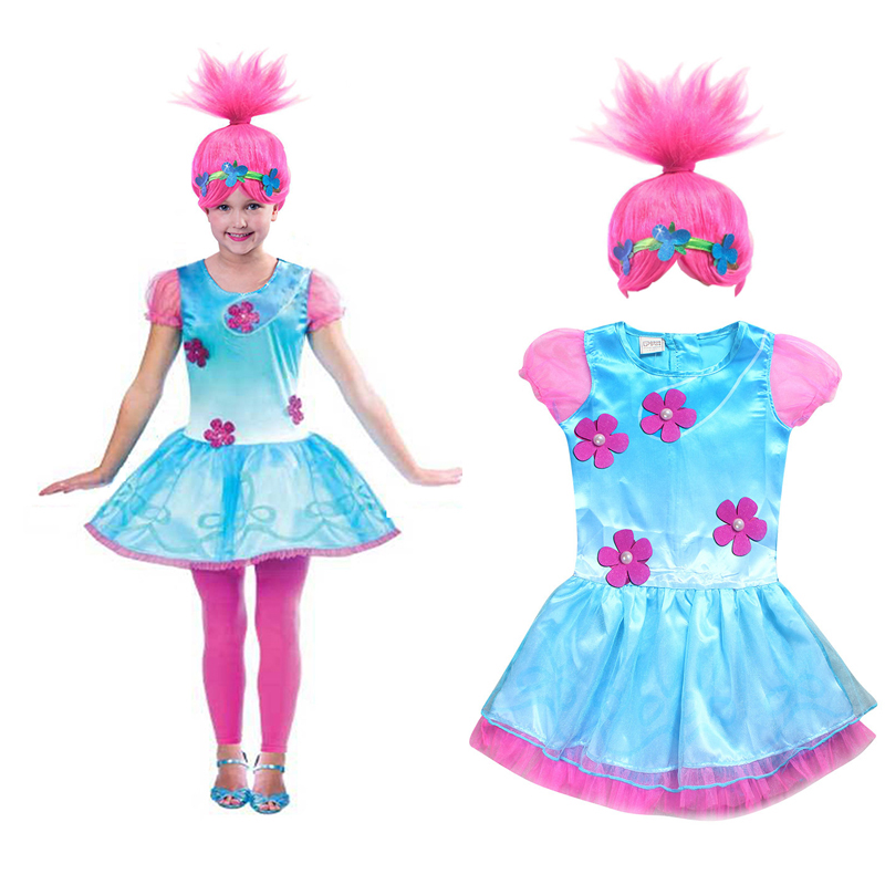 2018 Trolls Wig+dresses set for Children Costumes For Girls Carnival Kids Costumes Moana Vaiana Dress Trolls Poppy Party Clothes
