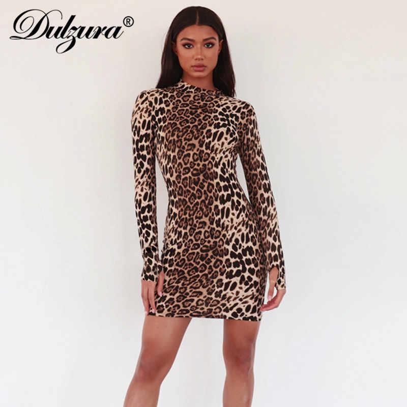 Dulzura, перчатки с длинным рукавом, Леопардовый принт, сексуальное женское мини платье, облегающее, Осень-зима 2019, с круглым вырезом, вечерние, для рождества, клуба, модное
