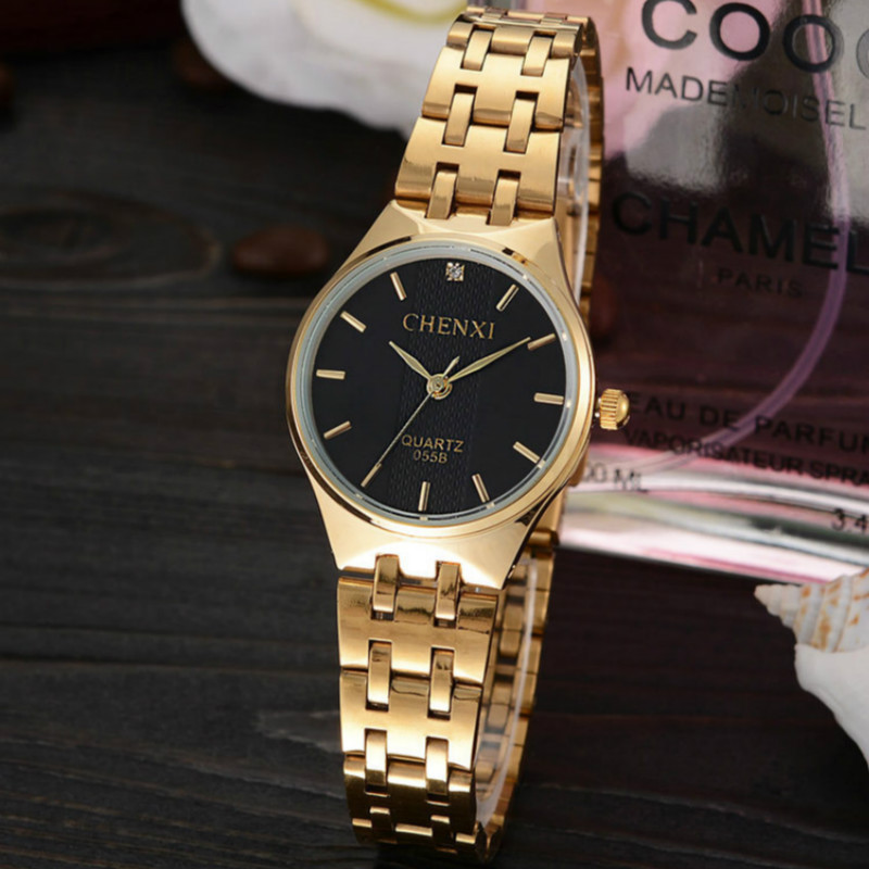 Fashion Luxury Brand CHENXI Watch Women Gold Watch Waterproof Casual Quartz-watch Ladies Female Dress Watches reloj mujer 2016 weiqin luxury gold wrist watch for women rhinestone crystal fashion ladies analog quartz watch reloj mujer clock female relogios