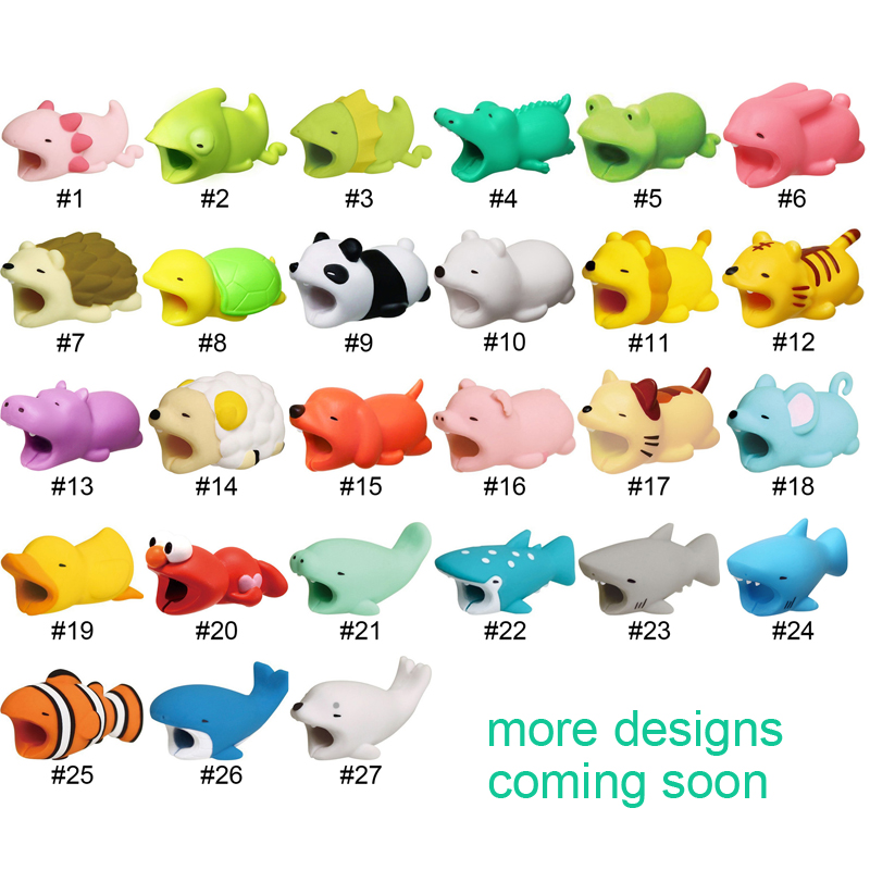 Tishric Super Hot Sale Cable Bite Animal Protector For Iphone Panda Dog Cat Elmo Cable Chompers Drop Shipping Digital Cables Cable Winder