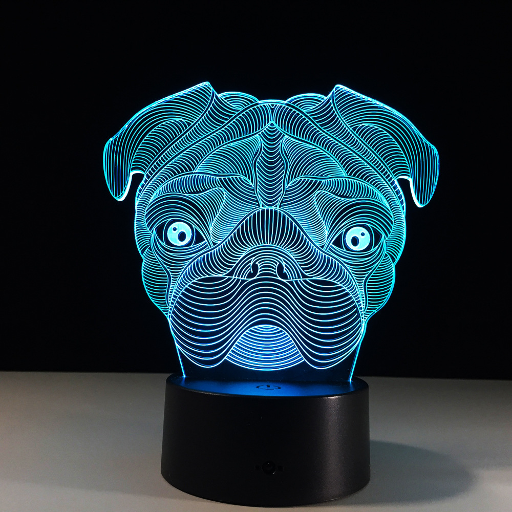Dog 7 Colors Changing Animal 3D Visual Led Night Light 3D Illusion Lamp Baby Sleeping Lighting for Home Decoration