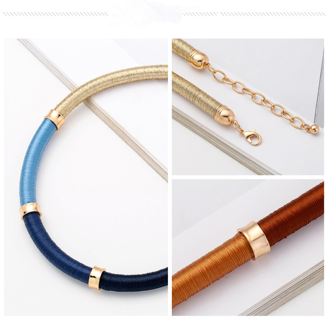 New Fashion Handmade Rope Chain Statement Necklace Women Simple Necklaces Torques Gold Blue Choker Brand Collar Necklaces
