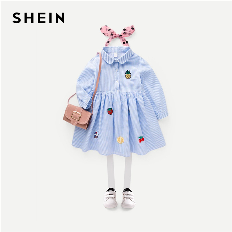 SHEIN Blue Toddler Girls Fruit Embroidery Striped Casual Shirt Dress Girls Clothing 2019 Spring Long Sleeve A Line Kids Dresses uniquewho girls women floral denim shirt dress birds flowers embroidery dress long sleeve elastic waist ankle length shirtdress