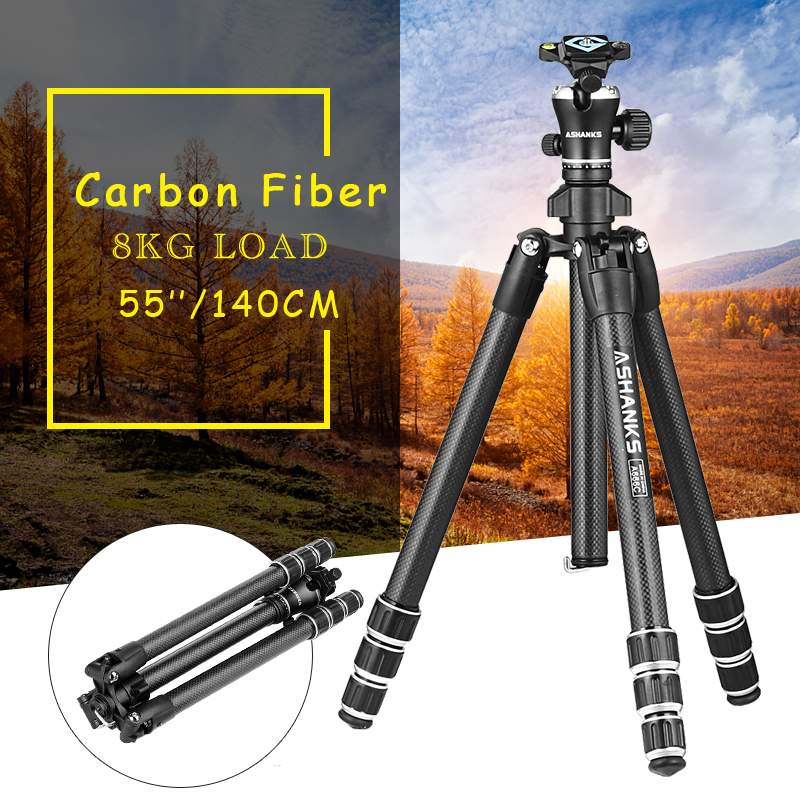 ASHANKS A666C Carbon Camera Tripod with Professional Video Ball Head Portable for Photographic DSLR Camera 8KG 140cm/55.1'' professional dv camera crane jib 3m 6m 19 ft square for video camera filming with 2 axis motorized head
