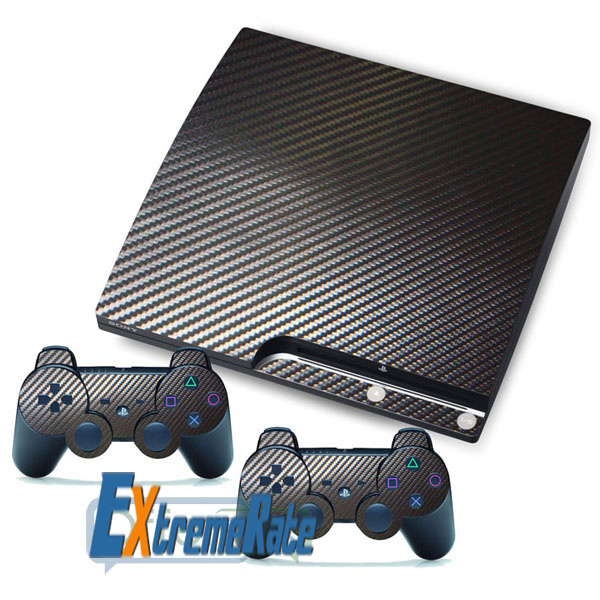 NEW Black Carbon Fiber Vinyl Skin Decals Sticker For PS3 Slim + 2 New Skin Covers For PlayStation 3 Controller