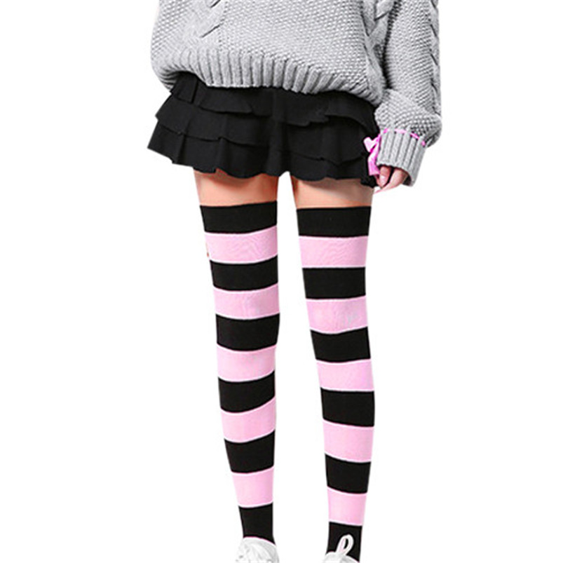 e9255e69576f1 2019 Hot sale fashion Women Girl Winter Over Knee Leg Warmer Striped Soft  Cotton Socks Leggin compression funny socks-in Stockings from Underwear ...